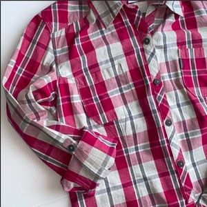 Columbia Plaid Tunic Blouse with Pockets